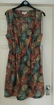 £1.50 • Buy APRICOT Peacock Feather Print Summer Dress Size 14 More Of A Size 12