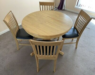 £29.99 • Buy Solid Wood Round Extending Dining Kitchen Table & Chairs