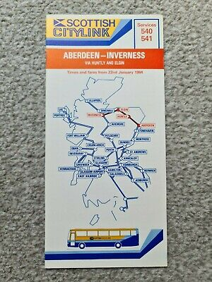 £2 • Buy Scottish Citylink Coach Timetable – Aberdeen To Inverness (1984)