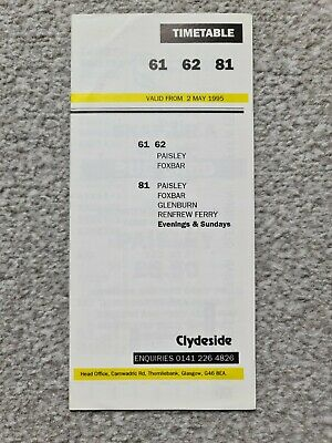 £1.50 • Buy Clydeside Paisley Scottish Bus Timetable – Services 61 62 81 (May 1995)