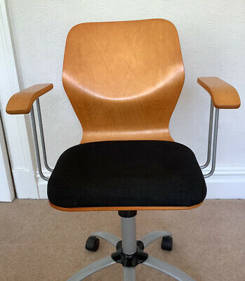 £39.99 • Buy Office Executive Moulded Plywood Swivel Chair Arms Retro Eames Bauhaus Conran