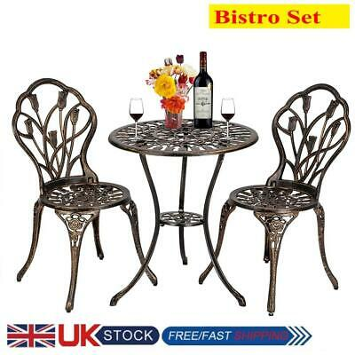 £109.99 • Buy Bistro Table And Chairs Set Dining Table Set Cast Aluminium Metal Garden Patio