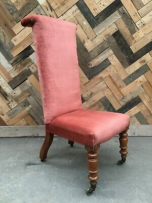 £100 • Buy Victorian Prie Dieu Pink Upholstered Chair