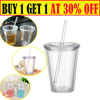 £7.69 • Buy 16OZ Double Walled Cup Plastic Clear With Lid And Straw 500ml Drinks Insulated
