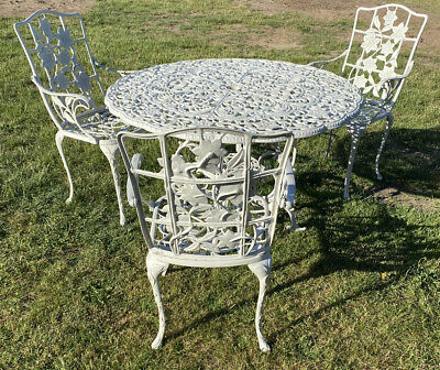 £275 • Buy Cast Aluminium Large Garden Table & 3 Chairs Vgc Off White