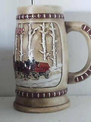 $ CDN53.26 • Buy 1981 Budweiser Holiday Clydesdale Beer Stein Mug Snow Covered Birch Trees
