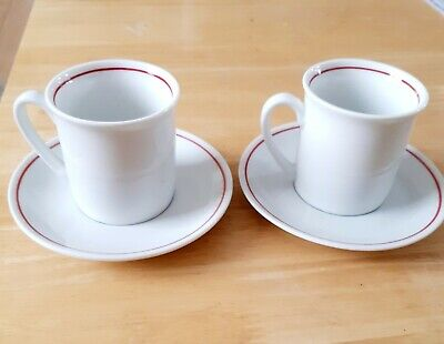 £5 • Buy 2 Red And White Expresso Coffee Cups And  Saucers In Excellent Condition