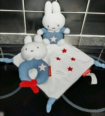 £4.99 • Buy MIFFY Bunny Baby Comforter Blanket Taggie Soft Toy & Teether Blue & White