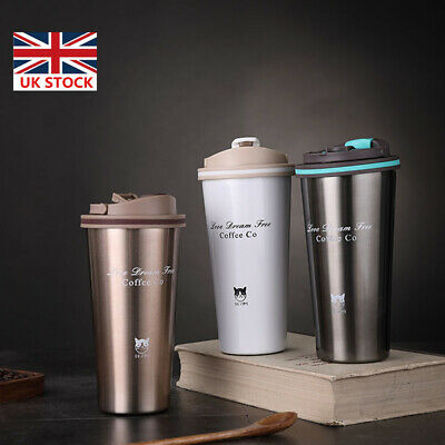 £10.34 • Buy Insulated Coffee Mug Cup Travel Thermal Stainless Steel Flask Leakproof Vacuum