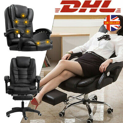£62.95 • Buy Office Computer Chair Massage Leather Gaming Chair Recline Wheels Swivel Black