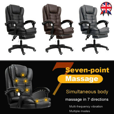 £62.95 • Buy Massage Executive Office Chair Gaming Computer Desk Footrest Recliner PU Leather