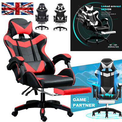 £56.66 • Buy Racing Gaming Office Chair Excutive Computer Desk Swivel Recliner Footrest Black