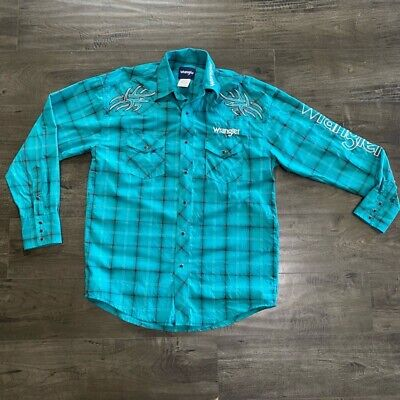 $18.69 • Buy Wrangler Mens Western Shirt Turquoise Plaid Pearl Snap Embroidered Tribal M