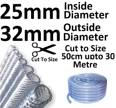 £7.28 • Buy 25mm Or 1  Clear Flexible PVC Tube Reinforced Pipe Water Pond Braided Air Hose