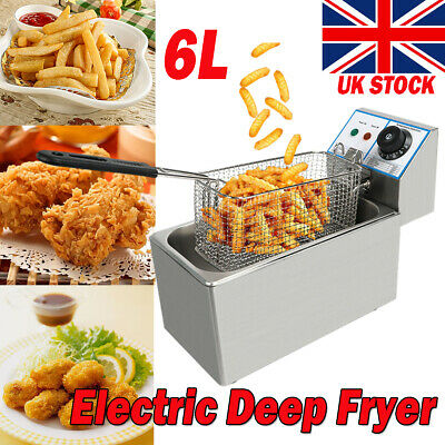 £30.98 • Buy Commercial Electric Deep Fat Fryer Tank Fry Chip 6L Oil Stainless Steel Home UK