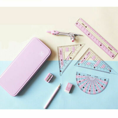 £4.98 • Buy Pink 8pcs Pencil Compasses Triangle Ruler Kit Student Geometry Drawing Tool Set