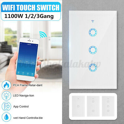 AU24.48 • Buy Smart WiFi Touch Switch Wall Light Panel 1/2/3 Gang With Alexa Google APP