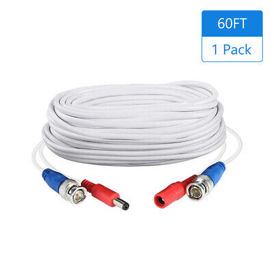$ CDN22.18 • Buy 1Pack White 60ft /18. 2-in-1 Video  CCTV Cable BNC Extend Cord For P5B9