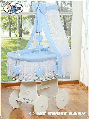 £259 • Buy My Sweet Baby - Hearts White Canopy Wicker Crib Moses Basket - Blue