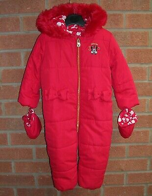 £12 • Buy DISNEY Girls MINNIE MOUSE Fleece Lined RED Snowsuit Hooded Age 18-24m