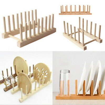 £6.47 • Buy Kitchen Wooden Plate Rack Drying Wooden Holder Wood Dish Drainer Vertical Dish*
