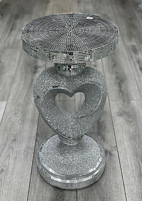 £64.99 • Buy Silver Venetian Mirrored Table Modern Flower Stand Bed Side Lamp Romany Mosaic✨