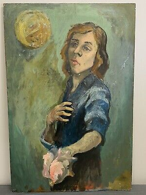 $119 • Buy Vintage Oil On Board ~ Woman Holding Conch Shell, Thinking? 36x24, Coastal Maine