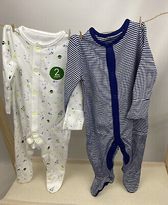 £7.15 • Buy NEW Ex Store 2 Pack Baby Boys Rocket Stripey Space Cotton Sleepsuits Babygrows