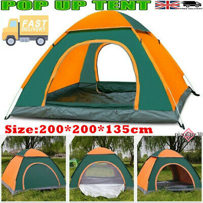 £26.99 • Buy Pop Up Tent Automatic 3-4 Man Person Family Tent Camping Festival Shelter Beach