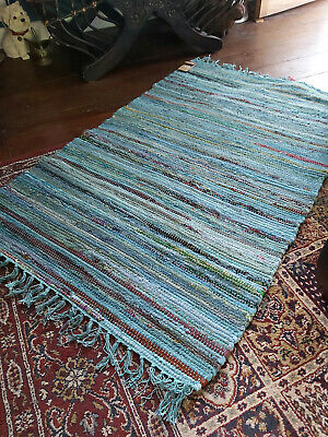 £17.95 • Buy Handmade Recycled Overdyed Cotton Rag Rug From India  75cm X 120cm- Turquoise