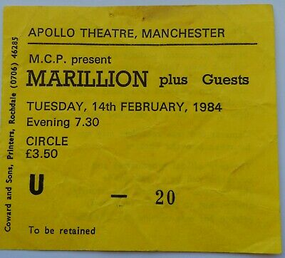 £10 • Buy Marillion Very Rare Concert Ticket 1984 Tour Live In Manchester England Fish