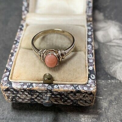 £165 • Buy 9ct Yellow Gold Coral Ring Vintage 9k Oval 7mm X 5mm Cabochon Stone UK N, US
