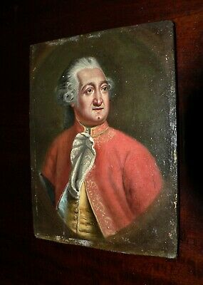 $213.16 • Buy Original French Miniature Oil Portrait. Military Officer. 18th Century. 1784
