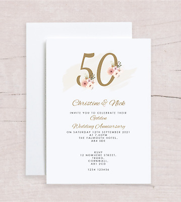 £4.50 • Buy 10x Personalised Golden 50th Wedding Anniversary Invitations FLORAL