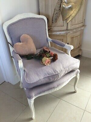 £245 • Buy Vintage French Louis Style Armchair ~Violet Canvas Upholstery/Reversible Cushion