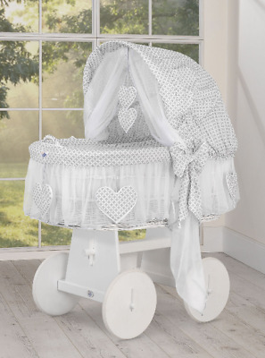 £265 • Buy My Sweet Baby - Hearts White Wicker Crib Moses Basket - Floral Grey