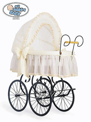 £279 • Buy My Sweet Baby - Retro Wicker Crib Moses Basket - Cream FAST DELIVERY