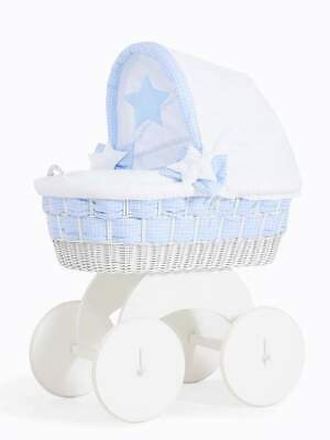 £297 • Buy My Sweet Baby - Isabella White Wicker Crib Moses Basket - Blue FAST DELIVERY