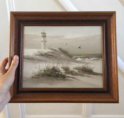 £19.99 • Buy Vintage Signed Oil Painting Of Sea In Wooden Frame