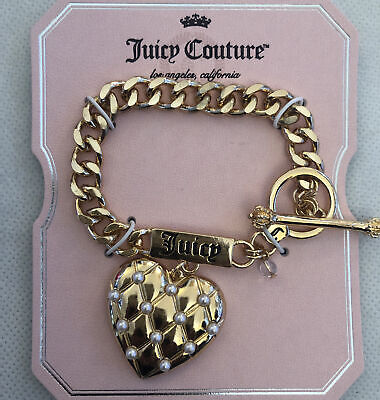 £18.54 • Buy Juicy Couture Gold Tone Charm Bracelet With Logo & Heart With Faux Pearls NWT