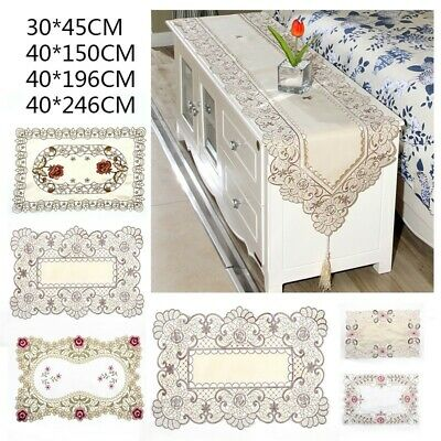 AU18.50 • Buy Embroidery Floral Lace Table Runner Dining Banquet Home Decoration Dresser