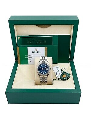 $ CDN12582.20 • Buy Rolex Datejust 126234 Blue Index Dial Stainless Steel Box Papers 2020