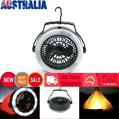 AU24.68 • Buy Outdoor Camping Portable USB Rechargeable LED Fan Light Hanging Tent Lamp XD