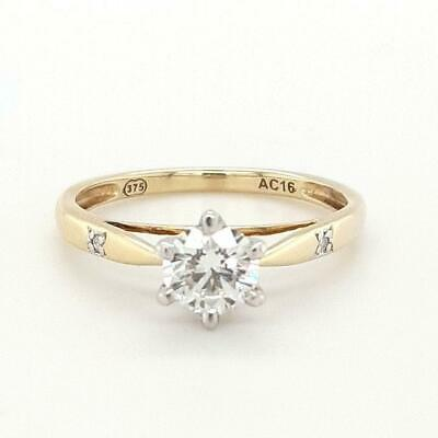 AU2299 • Buy 9ct DIAMOND SOLITAIRE RING ADGL CERT & INSCRIBED TDW 0.61cts VALUED $4399