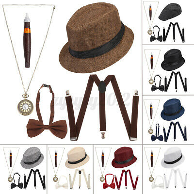 £10.43 • Buy 1920S Gatsby Gangster Fancy Dress Mens Costume Capone Godfather Hat Outfi