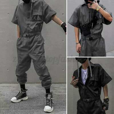 $31.23 • Buy Mens Short Sleeve Cargo Fashion Jumpsuit Button Up Overalls Romper Long Pants US
