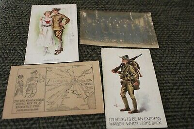 $25 • Buy Antique Lot Military WWI Postcards 1 Real Photo Red Cross Knoxville Tn