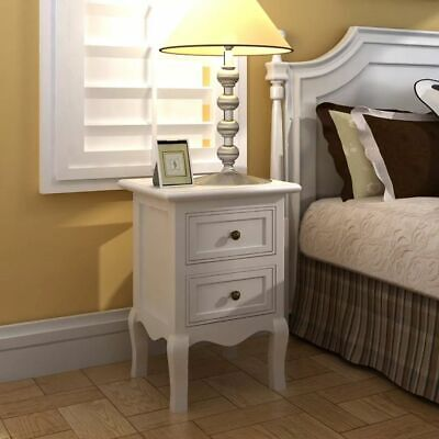 £134.19 • Buy Set Of 2 Two White Cabinets Nightstand Bed Stands French Style Mdf Storage J3y0