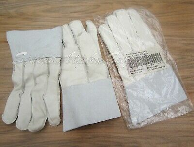 $8.35 • Buy New Dutch Army Surplus Genuine Issue Off White Leather Rigger Gloves Heavy Duty
