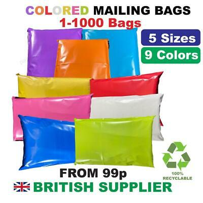 £4.85 • Buy Coloured Mailing Postal Bags Plastic Post Mail Postage Poly Mixed 100 500 1000
